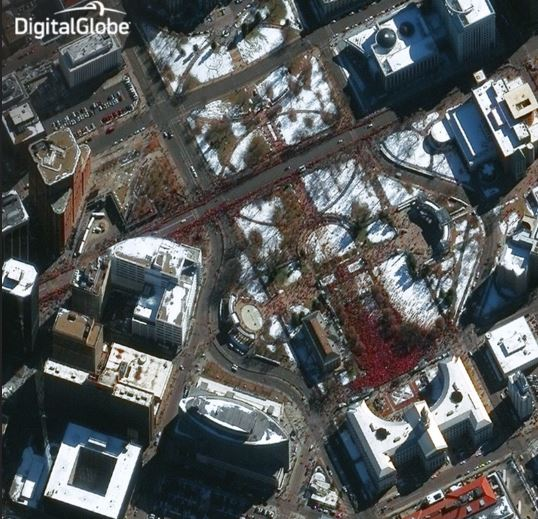 Denver Broncos Victory Parade Seen From Space