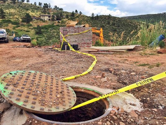 Raw Sewage Coming Out Of Manhole Near Horsetooth Reservoir