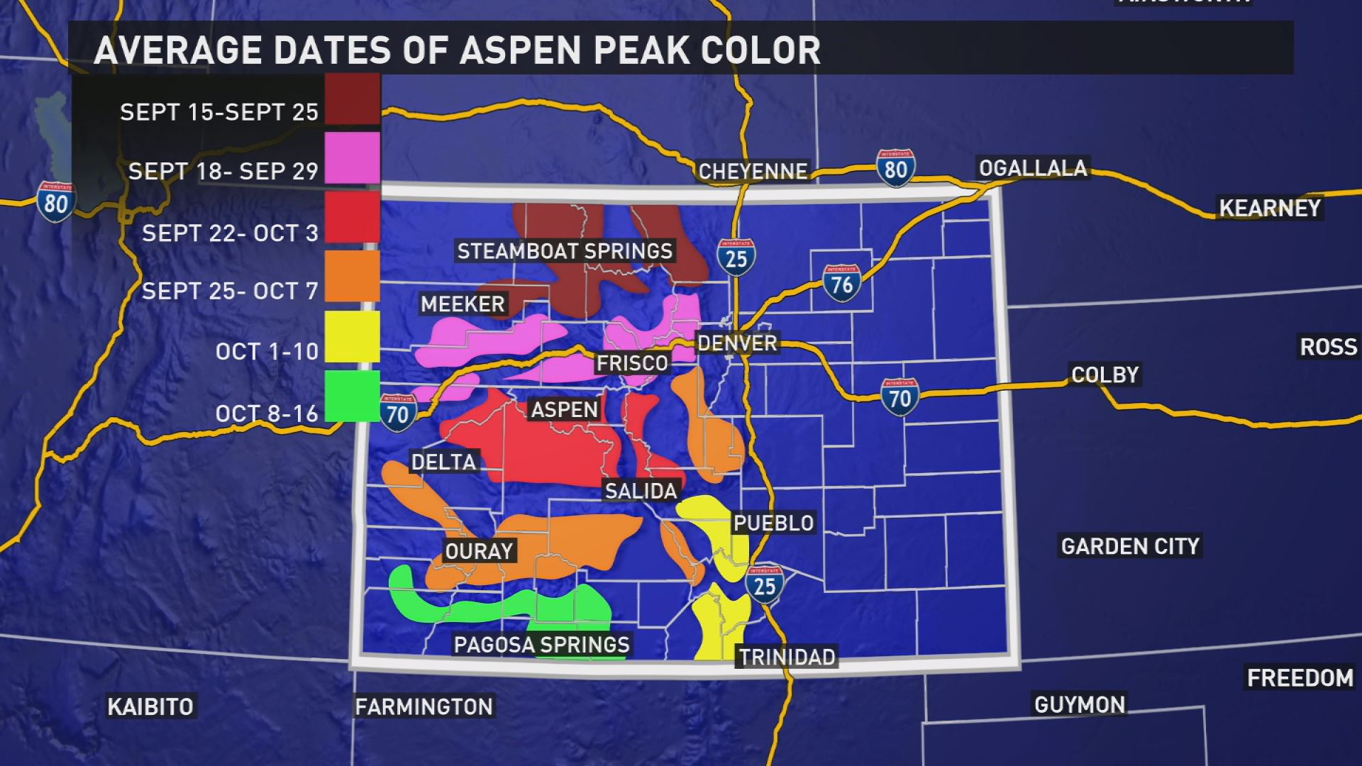 Colorado Trees Changing Colors Early Newscom - Fall foliage map us 2016
