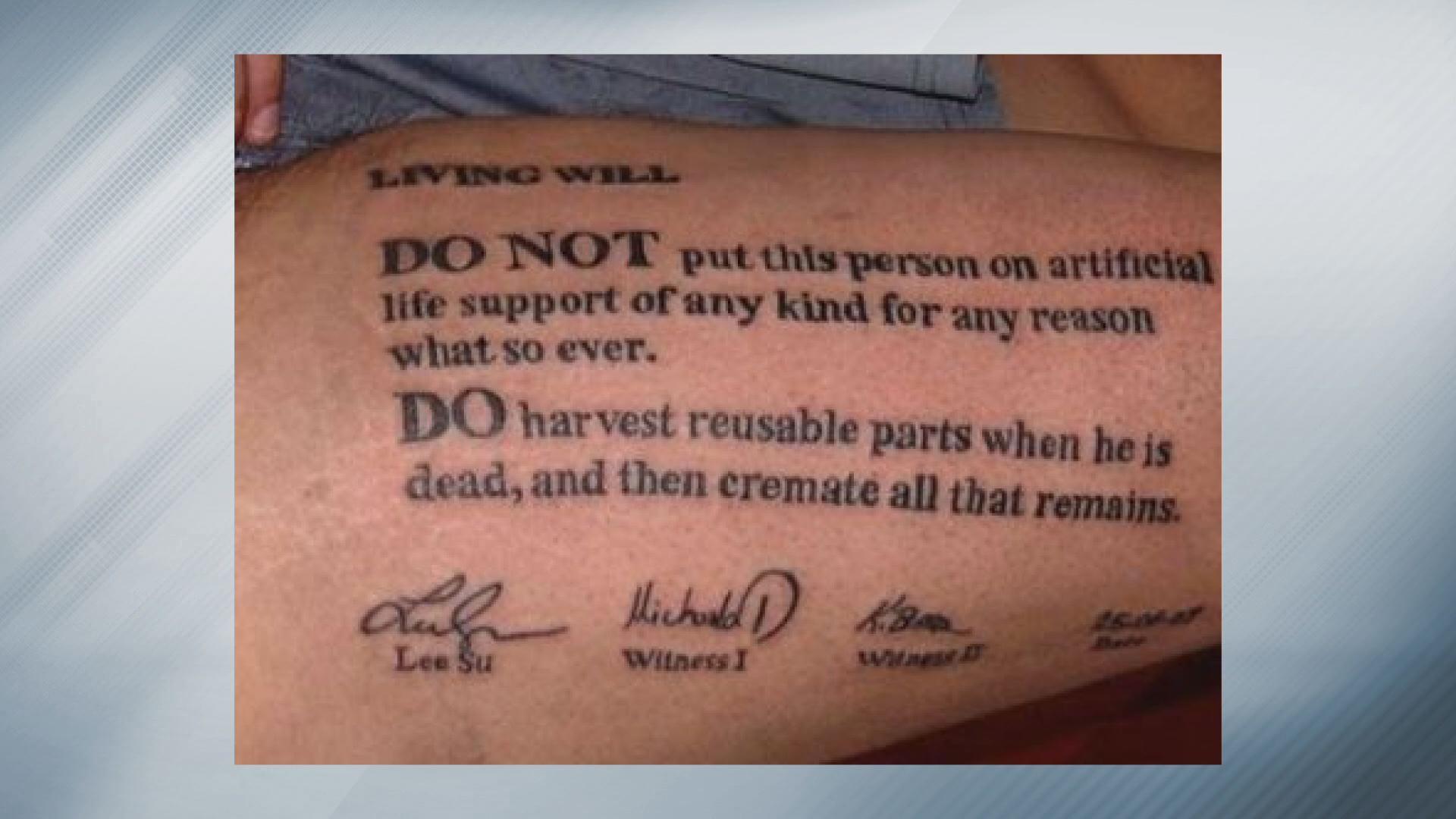 Do not resuscitate tattoo won't work in Colorado | 9news.com