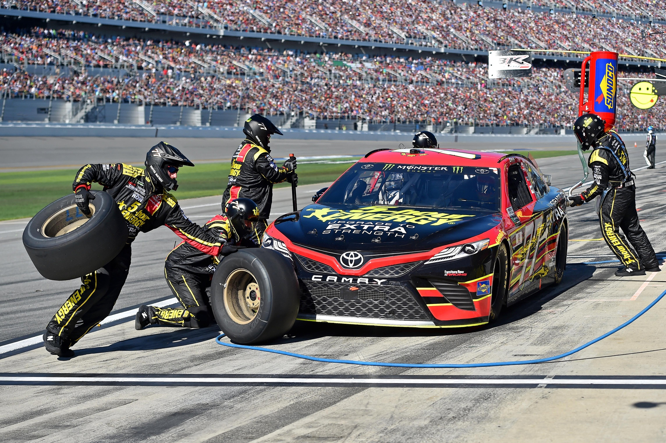 Furniture row racing hauler involved in highway accident for Furniture row racing
