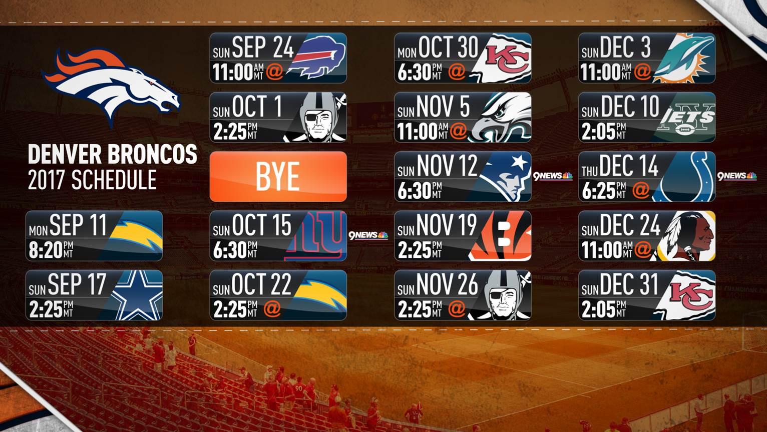 9news Com Denver Broncos Release 2017 18 Schedule