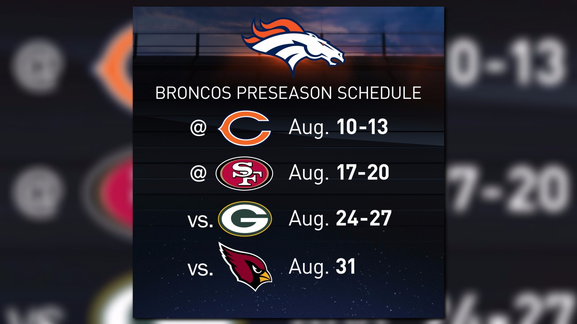 photo about Denver Broncos Schedule Printable titled Gameday! Denver Broncos Preseason Starts off These days 8/10/17 @ 6PM